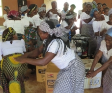 Elated women farmers on Lift Saxum donation of water pumps for off-season vegetable farming